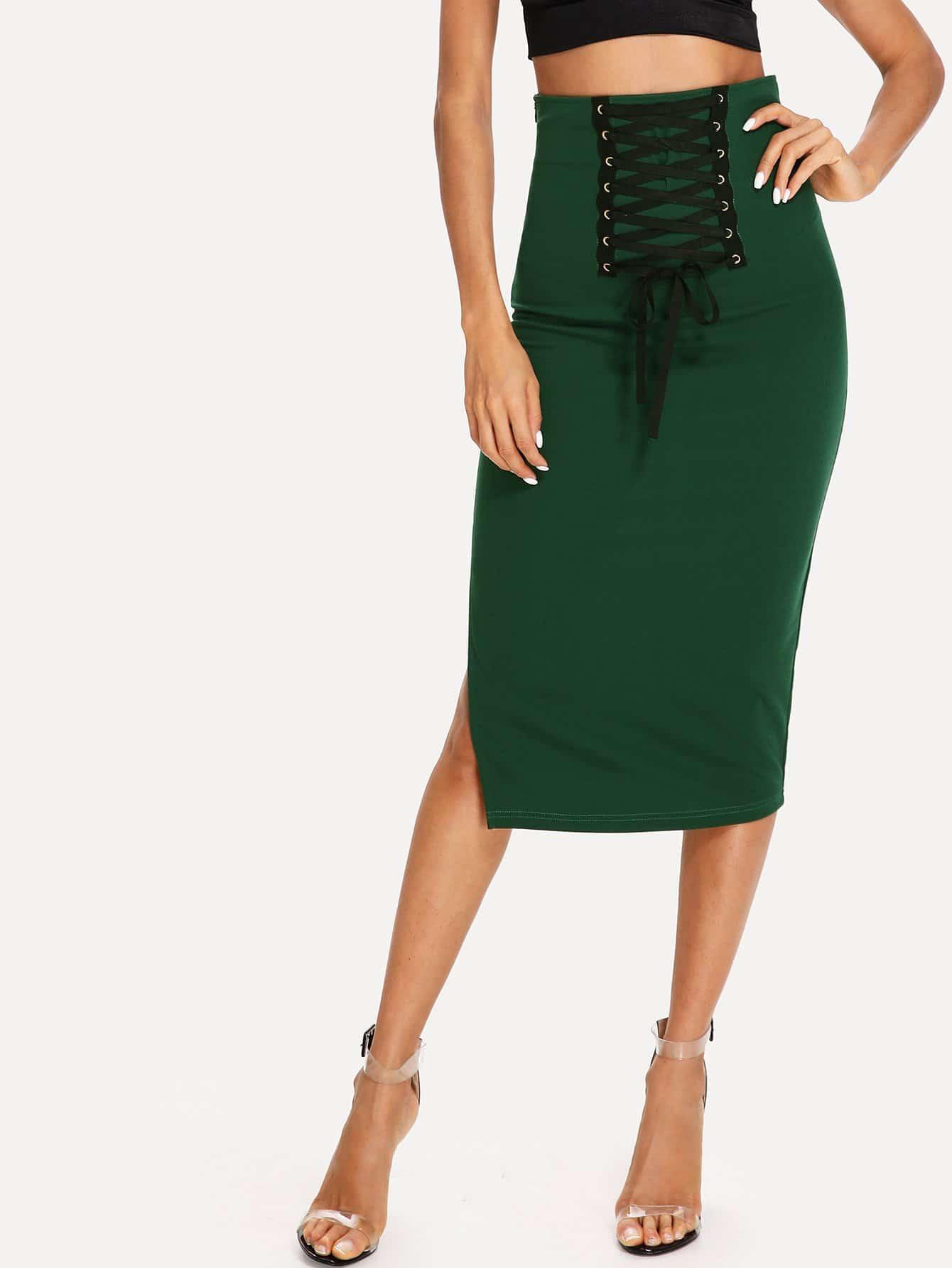 Grommet Lace Up Split Midi Skirt split mesh skirt cover up