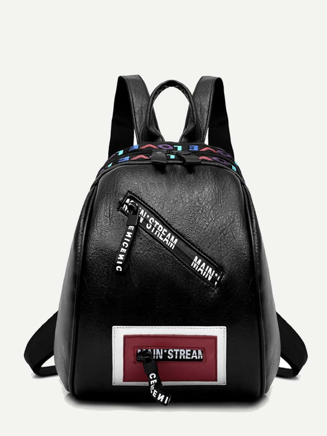 Letter Print Zip Front Backpack letter print zip front casual mens down jacket