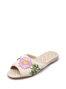 Floral Patch Detail Peep Toe Sliders