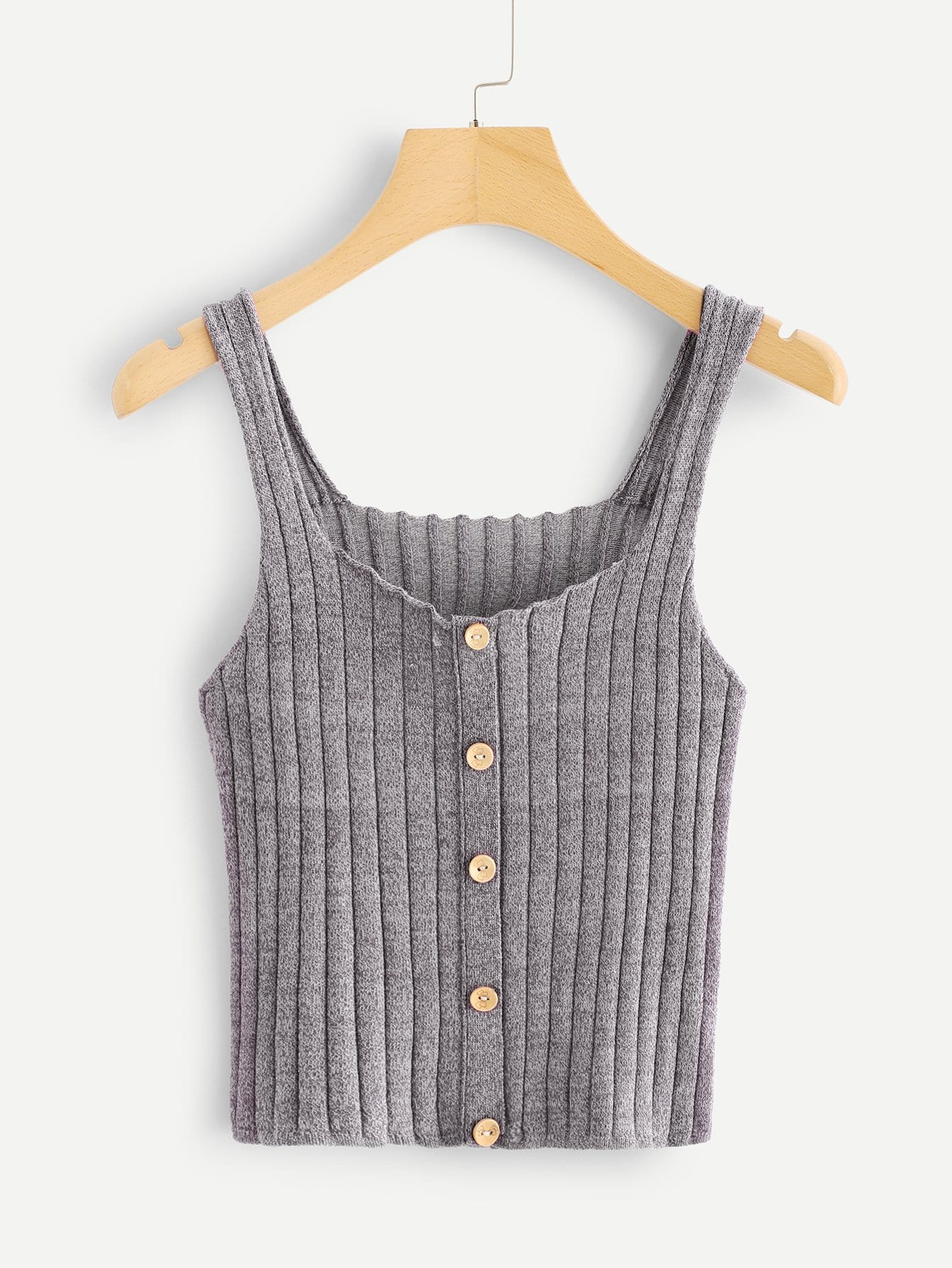 Thick Strap Button Front Crop Knit Cami Top button front strap dress