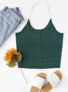 Contrast Binding Marled Knit Halter Top