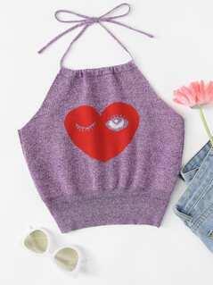 Winky Eye And Heart Print Halter Top
