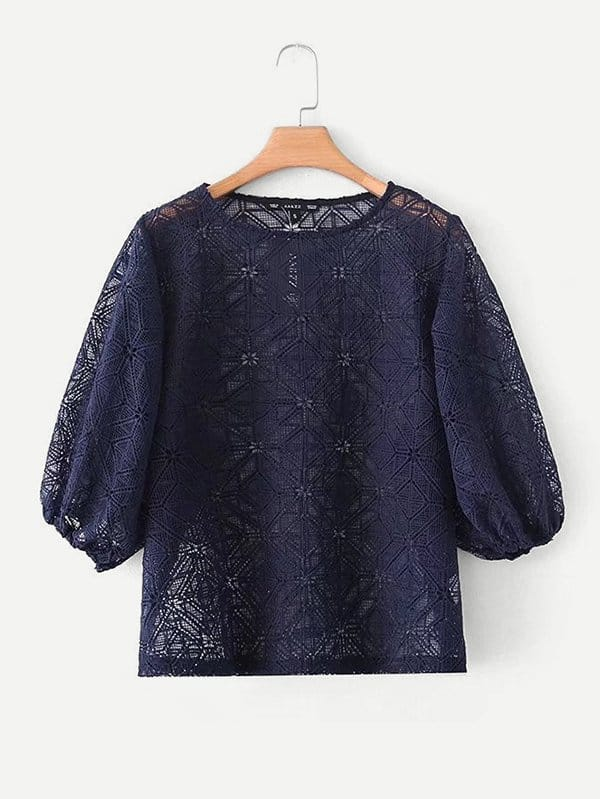 все цены на Hollow Out Guipure Lace Blouse