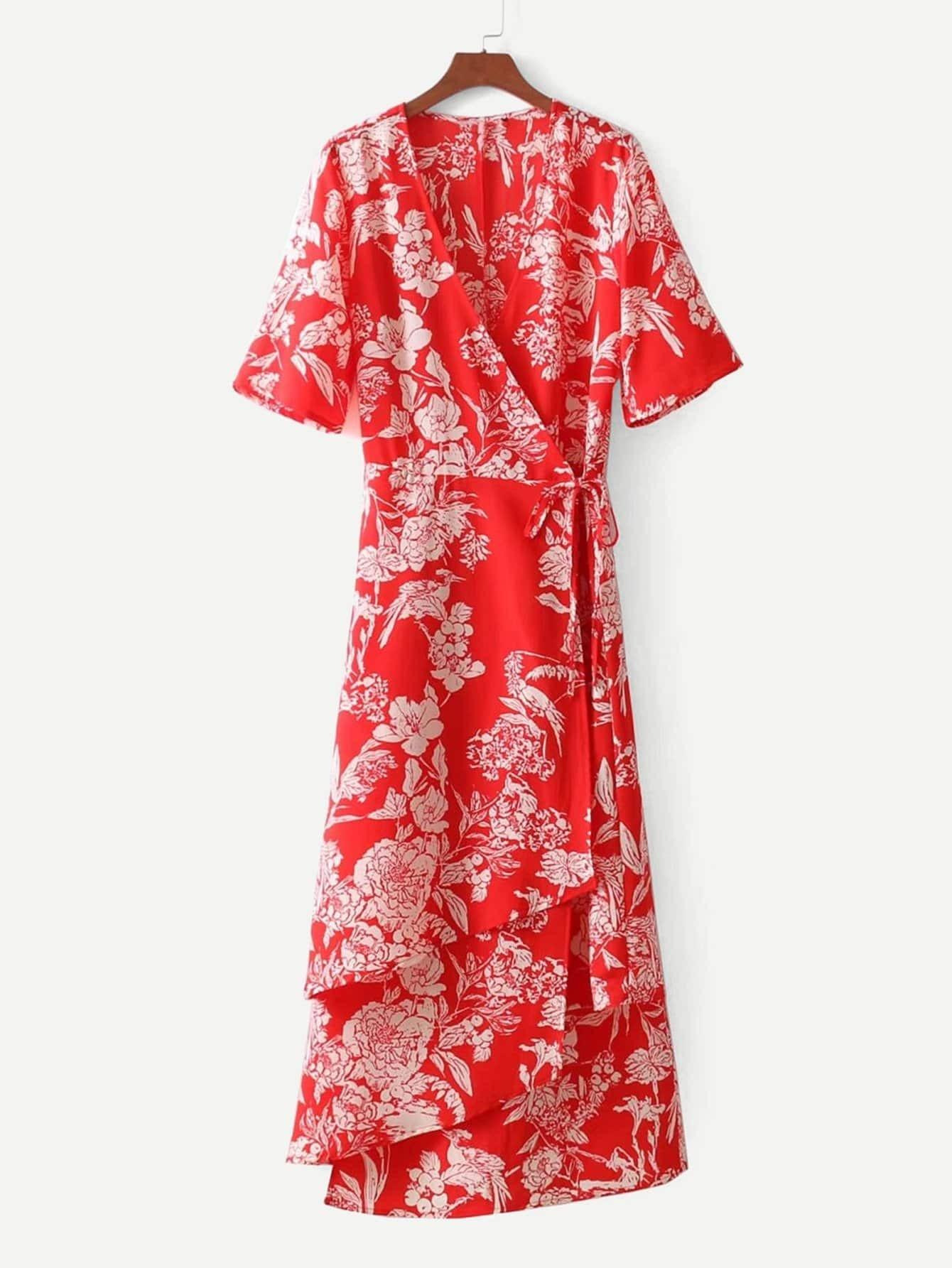 Botanical Print Wrap Dress botanical print surplice wrap dress