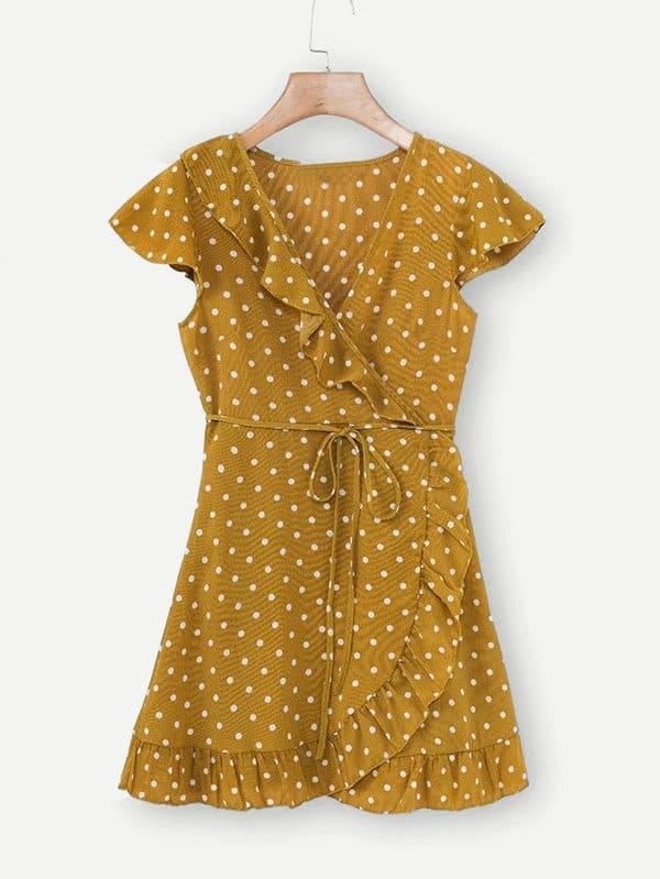 Ruffle Trim Spot Wrap Dress