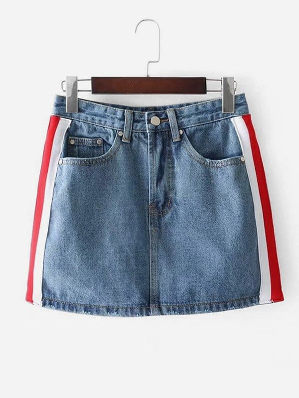 Striped Tape Side Denim Skirt striped tape side cuffed pants