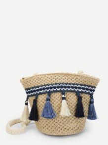 Tassel Trim Tribal Straw Crossbody Bag