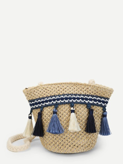 Tassel Trim Tribal Straw Crossbody Bag