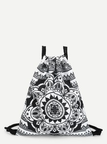 Baroque Style Pattern Drawstring Backpack