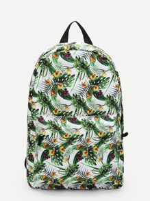 Tropical Rainforest Leaves Print Backpack
