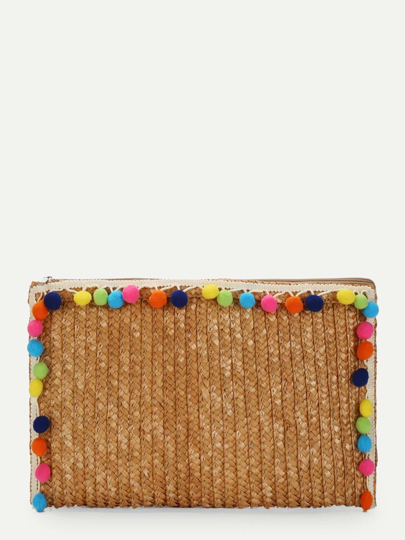Straw Clutch Bag With Pom Pom straw clutch bag with pom pom