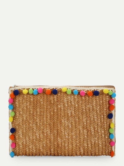 Straw Clutch Bag With Pom Pom
