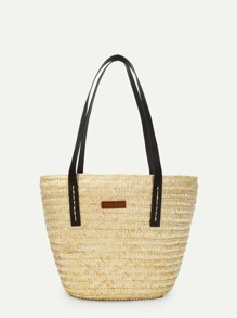 Double Handle Straw Shoulder Bag