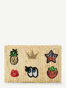 Patch Detail Straw Clutch bag