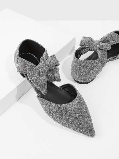 Bow Detail Glitter Two Part Flats