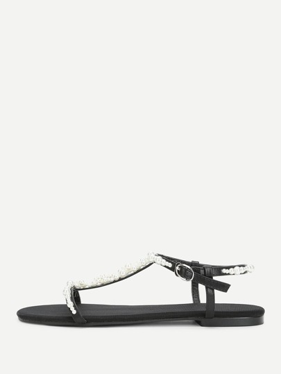 T-strap Faux Peral Decorated Sandals