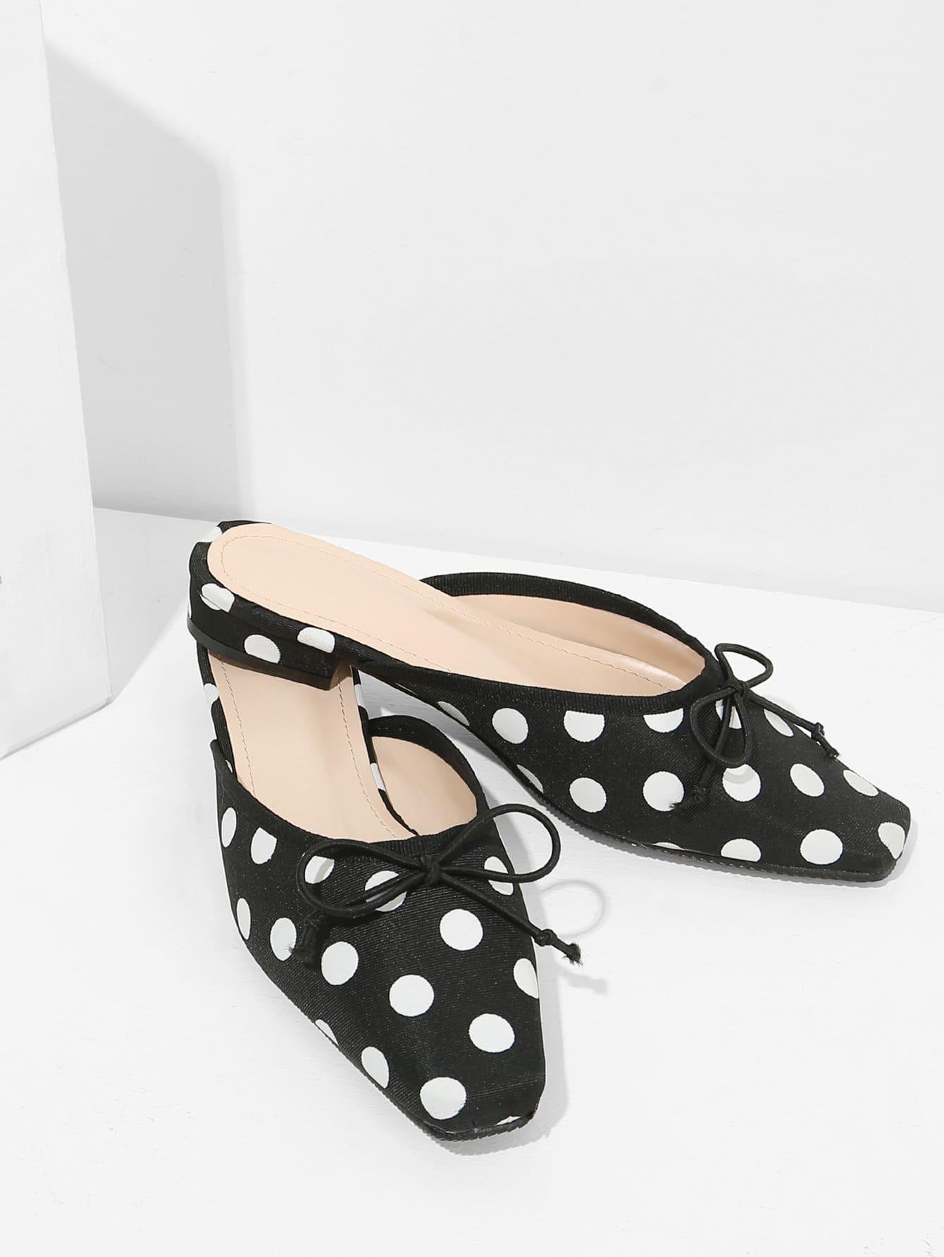 Polka Dot Bow-knot Square Toe Flats polka dot square coaster