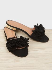 Tassel Trim Flat Sandals