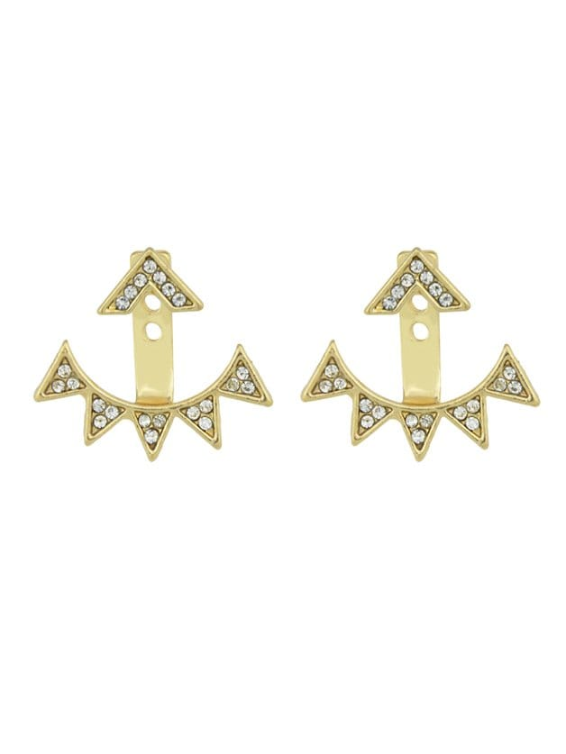 Gold Triangle Diamond Ear Studs