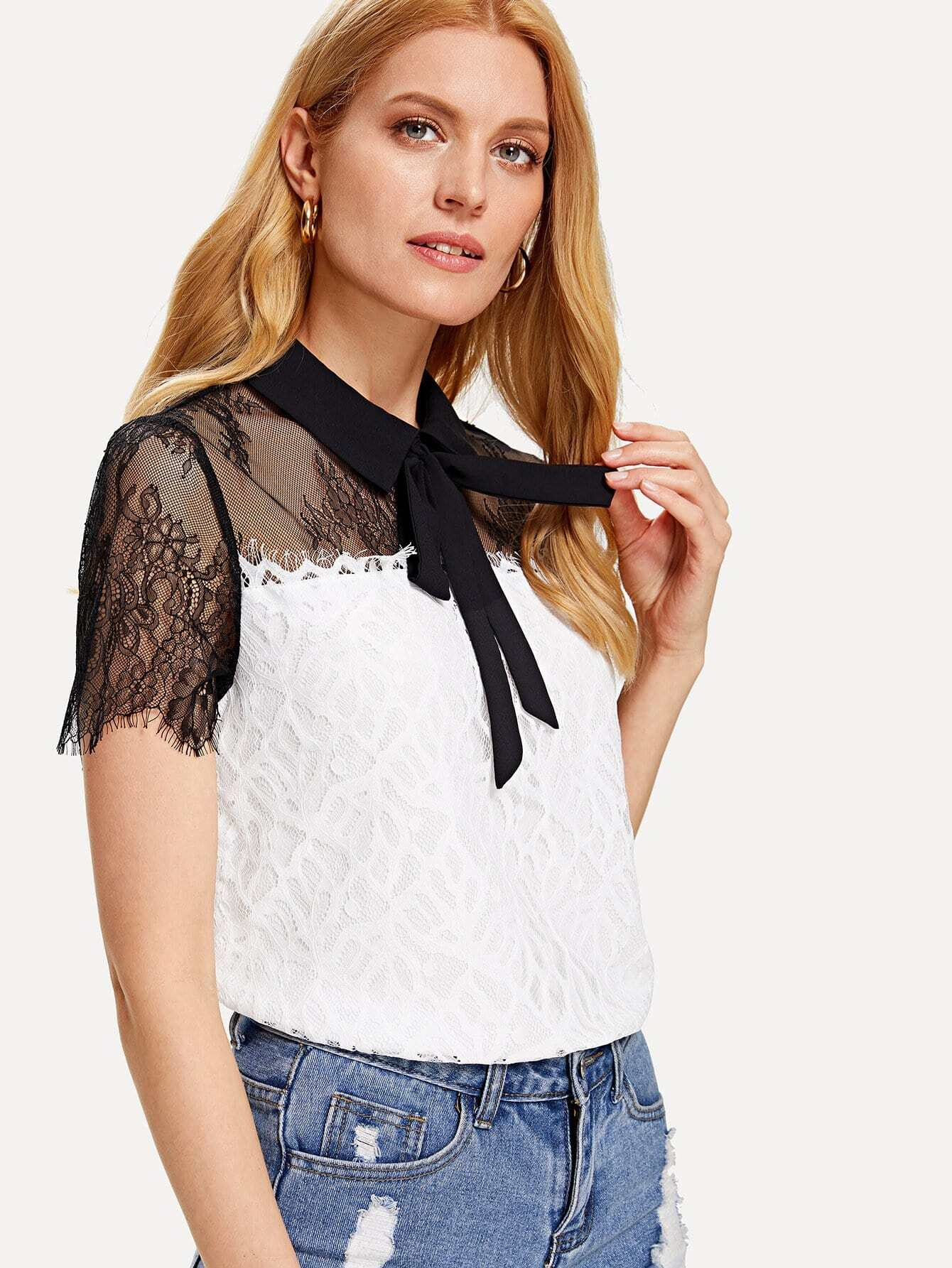 Two Tone Floral Lace Yoke Tied Neck Blouse feather lace yoke tied cuff top