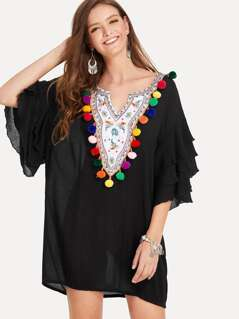Tiered Ruffle Sleeve Embroidery Plunging Pompom Detail Dress