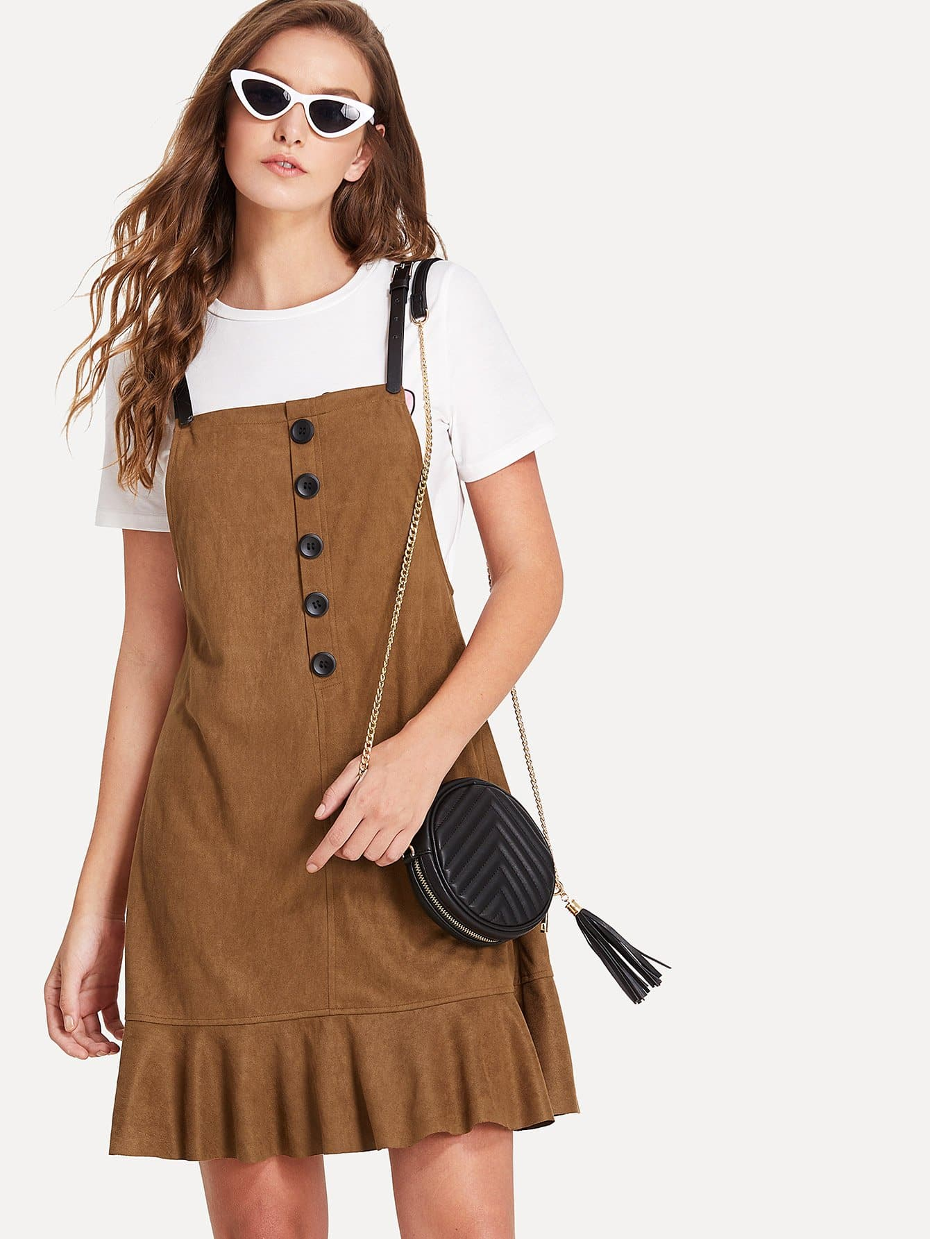 Button Up Front Ruffle Hem Suede Overall Dress surplice neck ruffle embellished button up dress