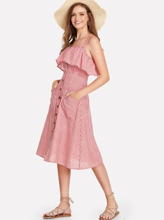 Button Up Flounce Trim Striped Dress