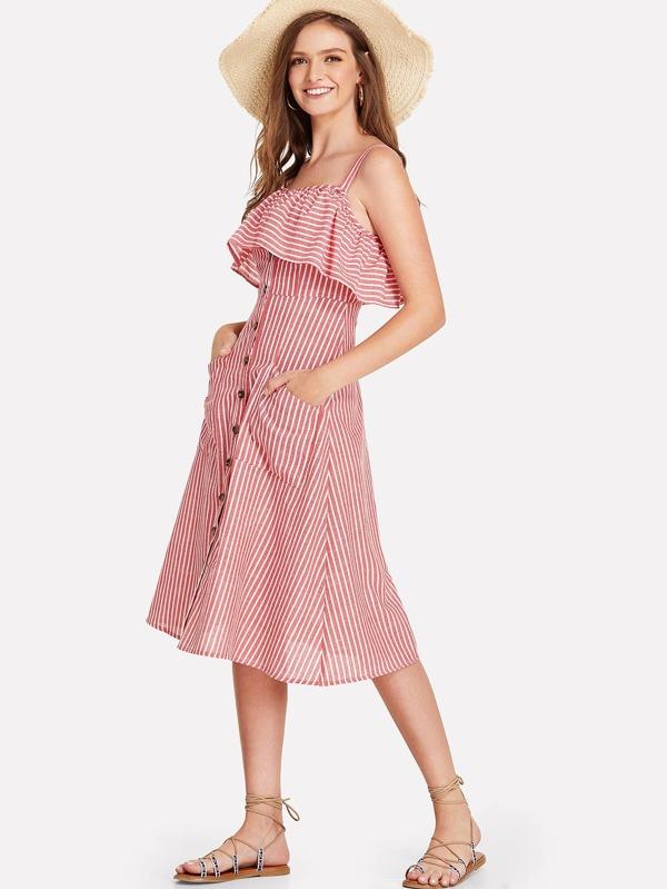 Button Up Flounce Trim Striped Dress by Shein