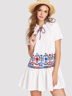 Tie Neck Ruffle Hem Embroidered Dress