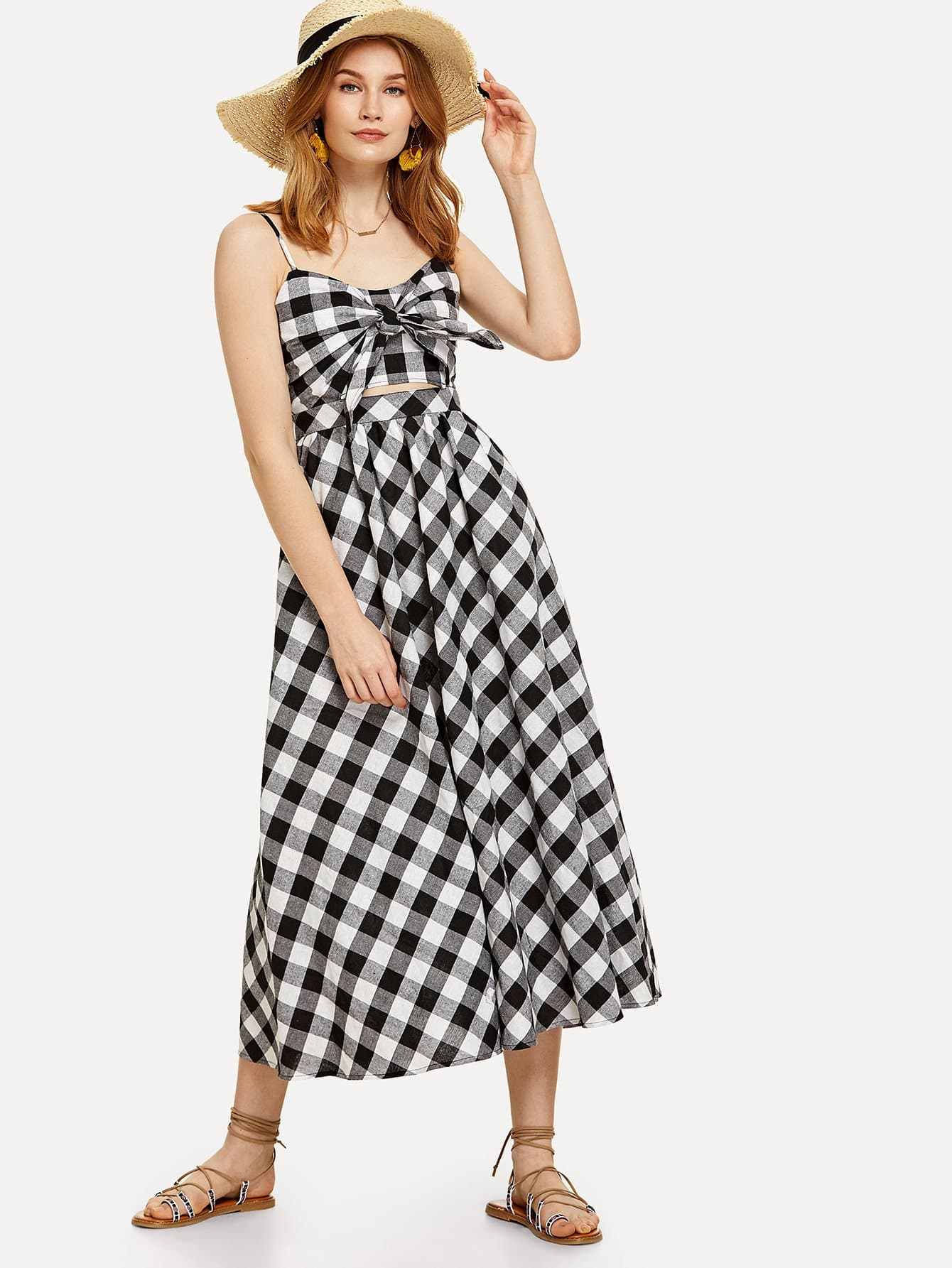 Knot Front Fit & Flared Plaid Cami Dress zip back fit and flared plaid dress