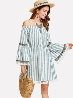 Tassel Accent Bell Sleeve Striped Bardot Dress