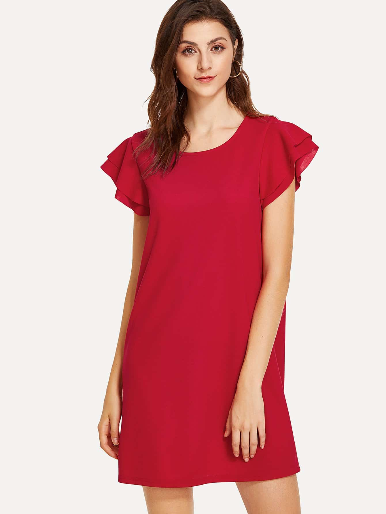 Layered Flutter Sleeve Tunic Dress pearl detail layered frill sleeve top