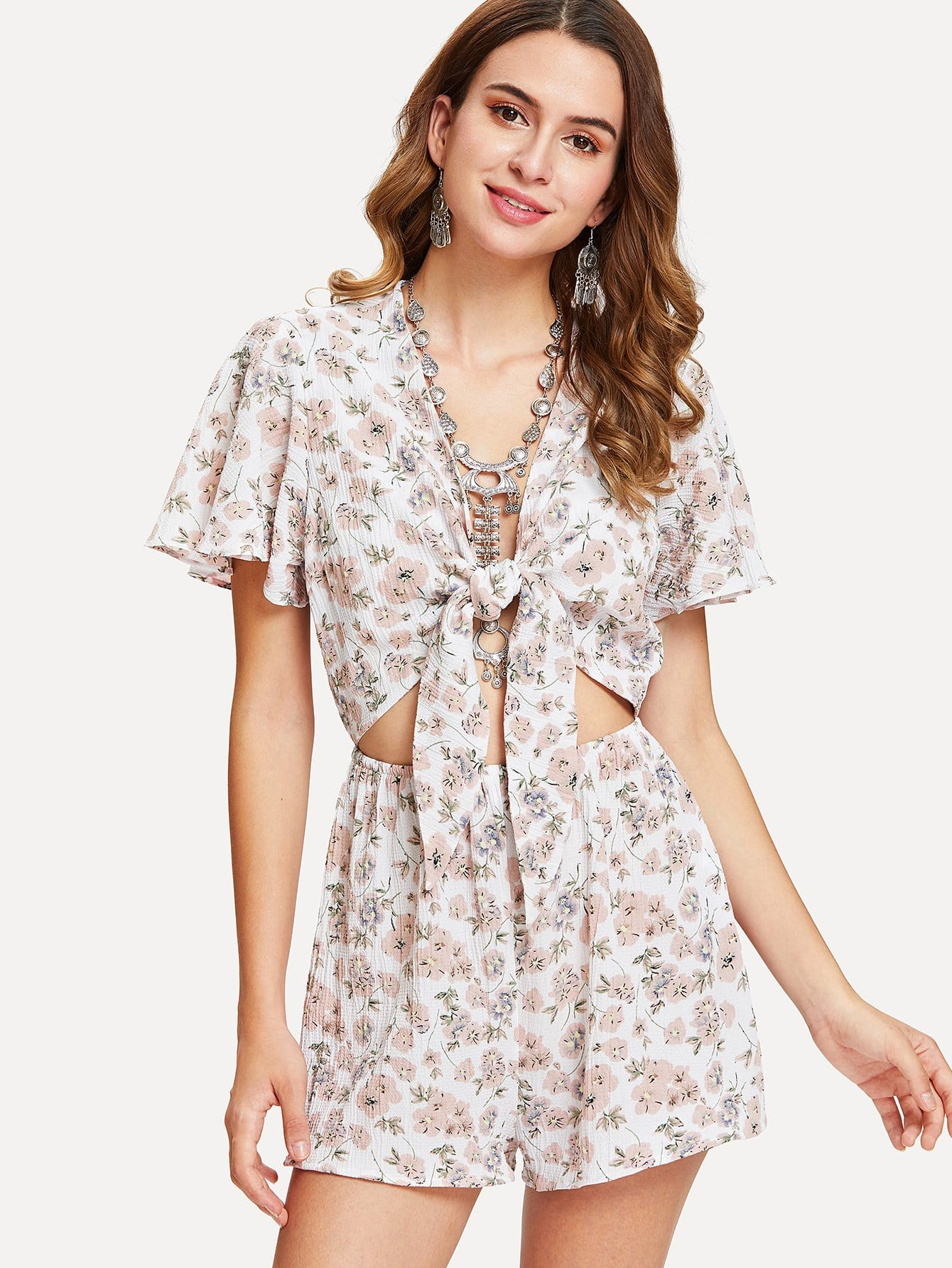 Knot Cutout Front Flutter Sleeve Floral Romper knot front flutter sleeve striped top