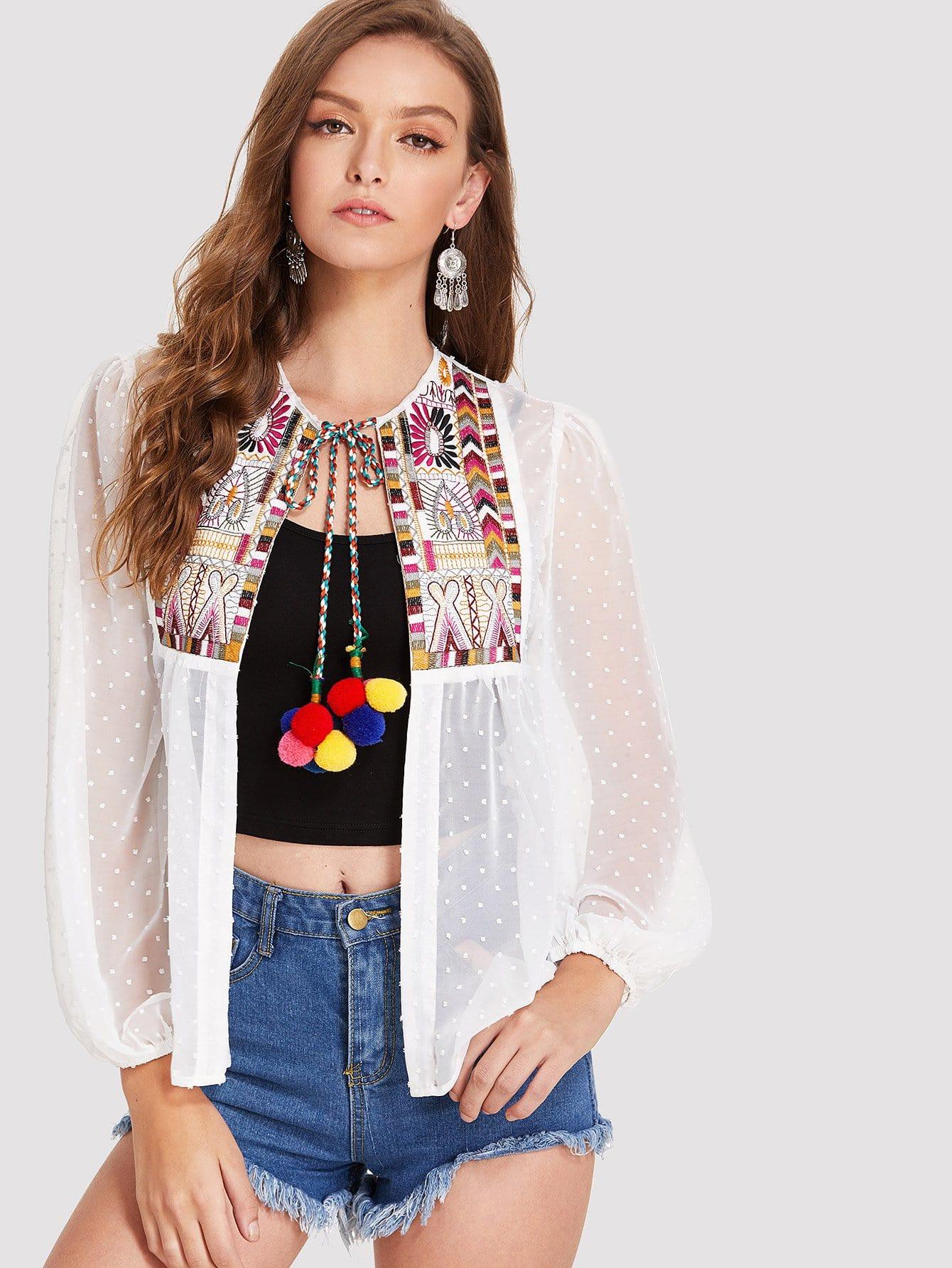 Купить Прозрачное кимоно с вышивкой, Luiza, SheIn