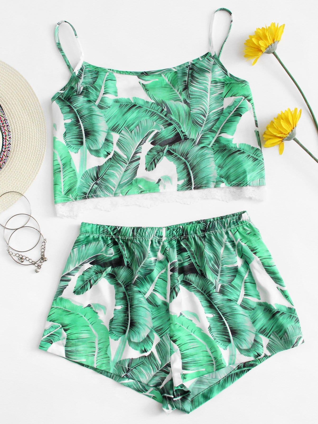Купить Комплект пижамы топ с принтом пальмы и шорты, null, SheIn
