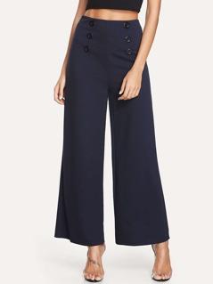 Double Button Front Wide Leg Pants