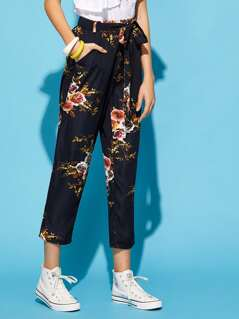 Self Belted Botanical Print Crop Pants