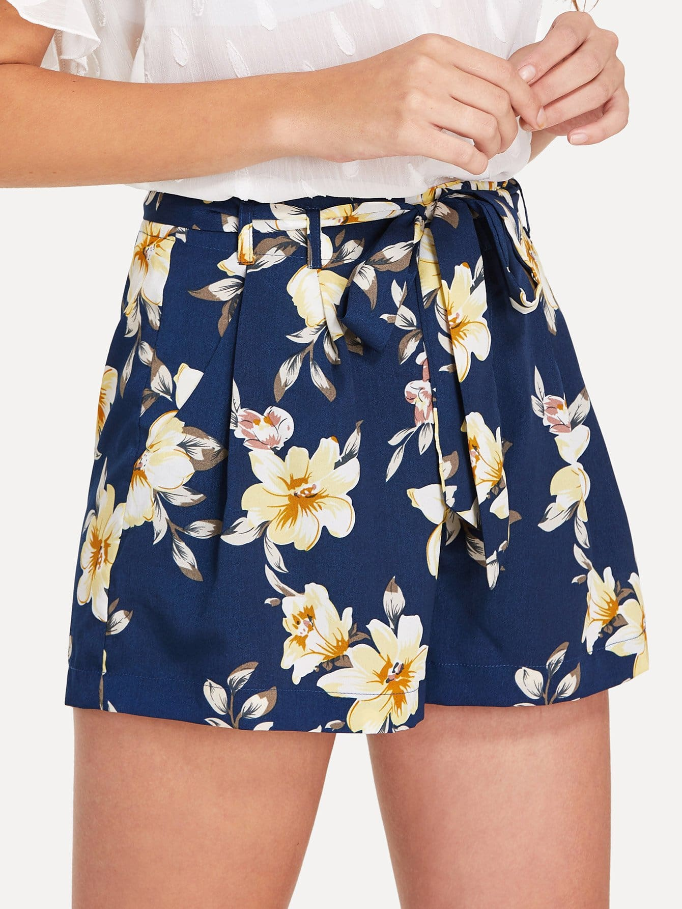 Self Belted Boxed Pleated Floral Shorts self belted boxed pleated shorts