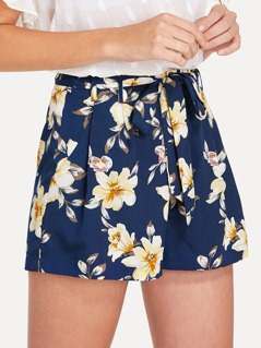 Self Belted Boxed Pleated Floral Shorts