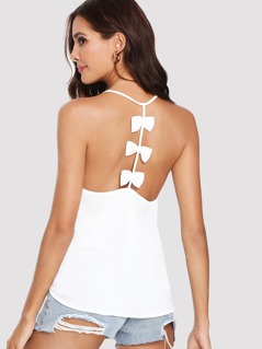 Bow Embellished Open Back Solid Cami Top