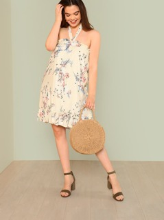 Plus Halter Strap Floral Print Swing Dress