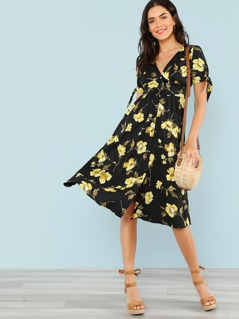 Floral Print Button Up Dress with Tie Sleeves