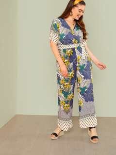 Plus Surplice Tropical Print Tie Waist Jumpsuit