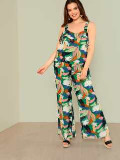 Plus Tropical Print Ruffle Top with matching Palazzo Pants
