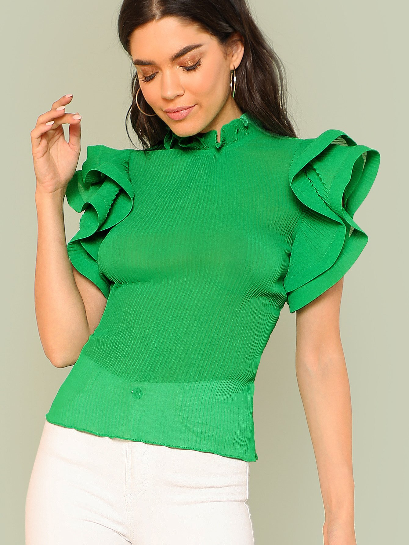 Exaggerate Tiered Ruffle Trim Pleated Panel Top tiered pleated cuff solid top