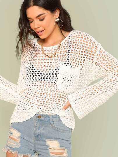 Open Knit Bell Sleeve Top with Pocket
