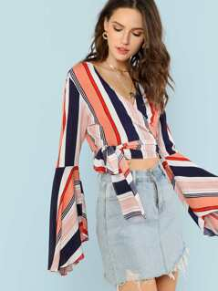 Stripe Bell Sleeve Wrap Crop Top