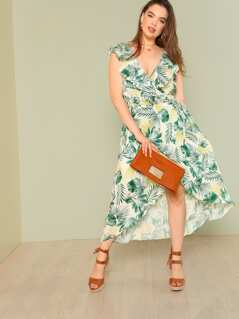 Plus Tropical Print Ruffle Wrap Dress