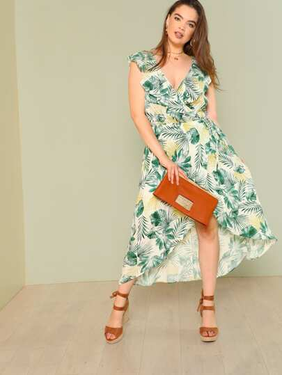 Tropical Print Ruffle Wrap Dress