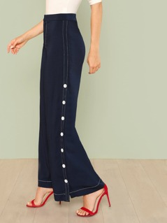 Contrast Button Up Side Dress Pants